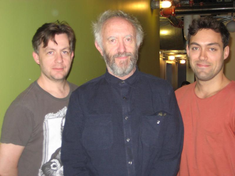 """The Caretaker"" co-stars Alan Cox, Jonathan Pryce, and Alex Hassle in the WNYC studios"