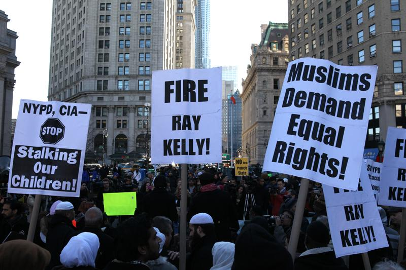 Muslim rights groups at Foley Square on February 3, 2011 protesting NYPD surveillance of Muslims in the city.