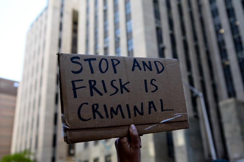 Anti-stop and frisk protesters outside Manhattan Court on April 30, 2012.