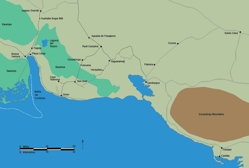 A map showing the Bay of Pigs as well as the Escambray Mountains.