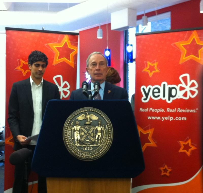 Mayor Bloomberg and City Council Speaker Christine Quinn joined Yelp Co-Founder and CEO Jeremy Stoppelman in the company's new office, blocks away from Union Square
