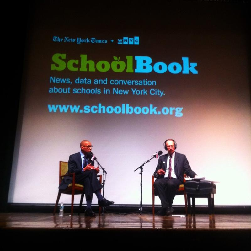 Education Chancellor Walcott and Brian Lehrer at a Schoolbook Event at Pratt