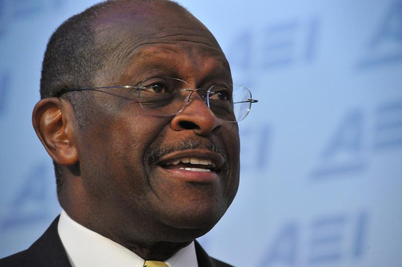 Republican presidential contender Herman Cain addresses an audience at AEI(American Enterprise Institute) for Public Policy Research on October 31, 2011 in Washington, DC.