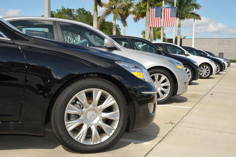 Cars waiting for a buyer in Weston, FL.
