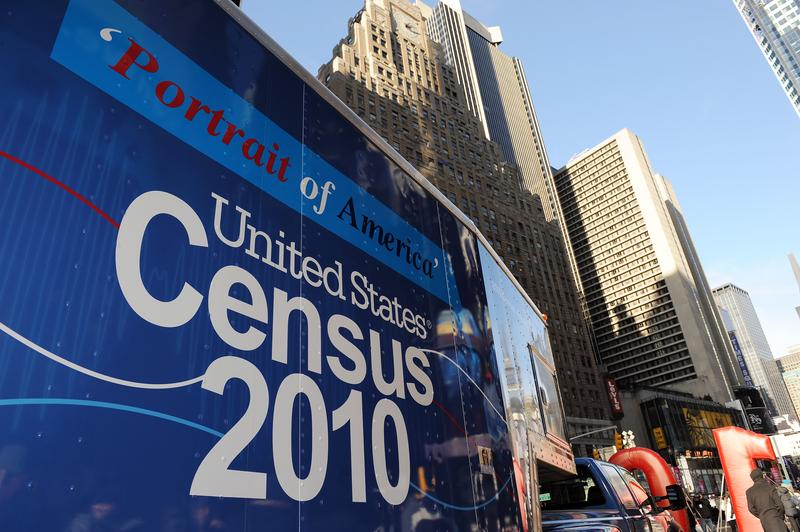 A truck arrives for the launch of the 2010 Census Portrait of America Road Tour on January 4, 2010 in New York's Times Square, part of the largest civic outreach and awareness campaign in U.S. history