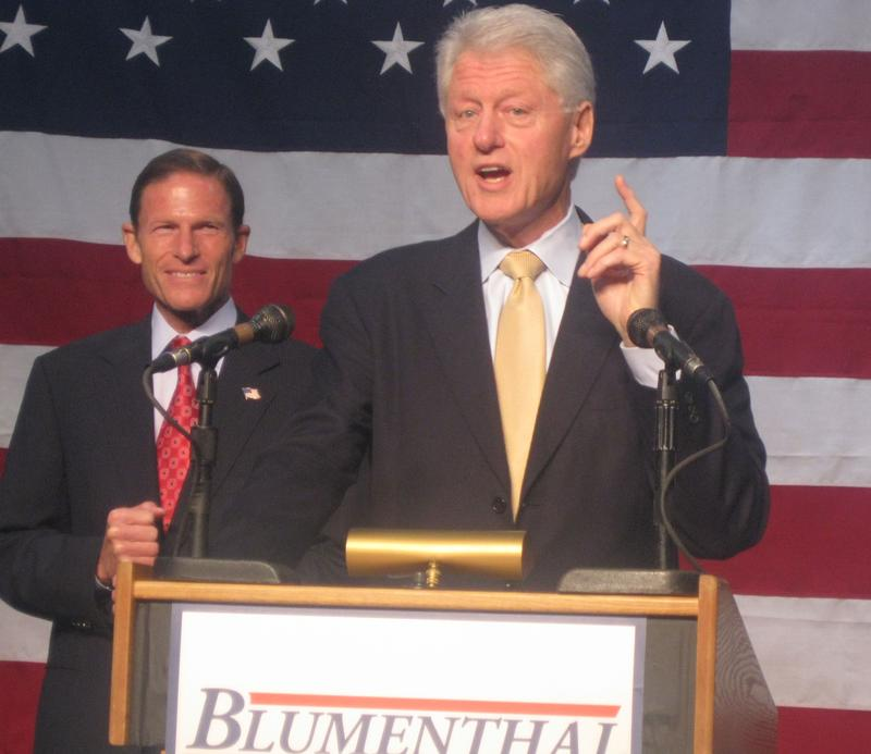 Bill Clinton addresses a rally for his Yale School classmate, CT Attorney General and U.S. Senate candidate Richard Blumenthal