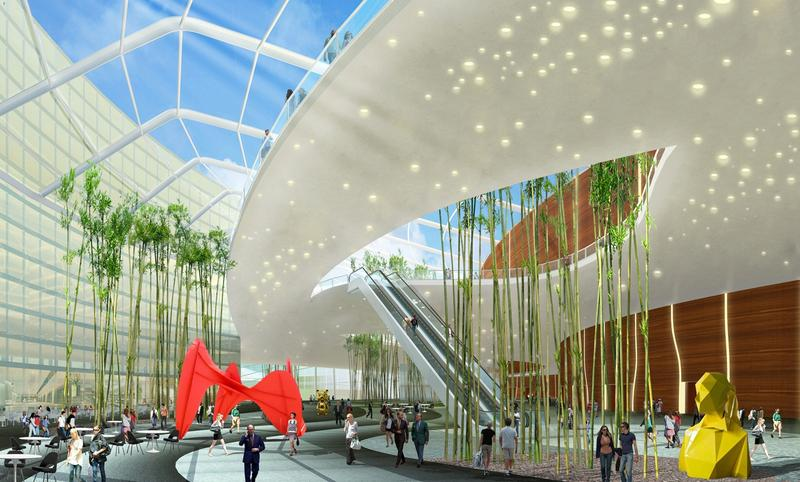 Rendering of the inside of the proposed convention center in Queens.