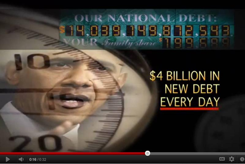 Still from an ad being run by Crossroads GPS, a tax-exempt group founded by Karl Rove to advocate conservative issues
