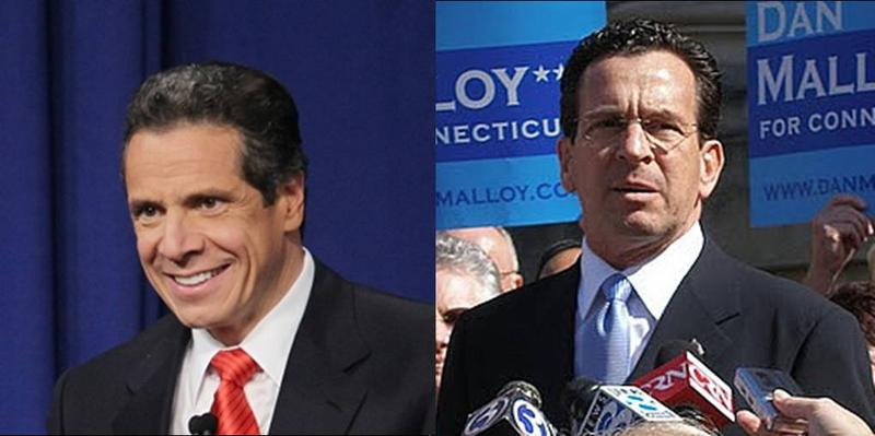 New York Governor Andrew Cuomo, left, and Connecticut Governor-elect Dan Malloy, right, will face huge shortfalls in their state budgets over the coming years.