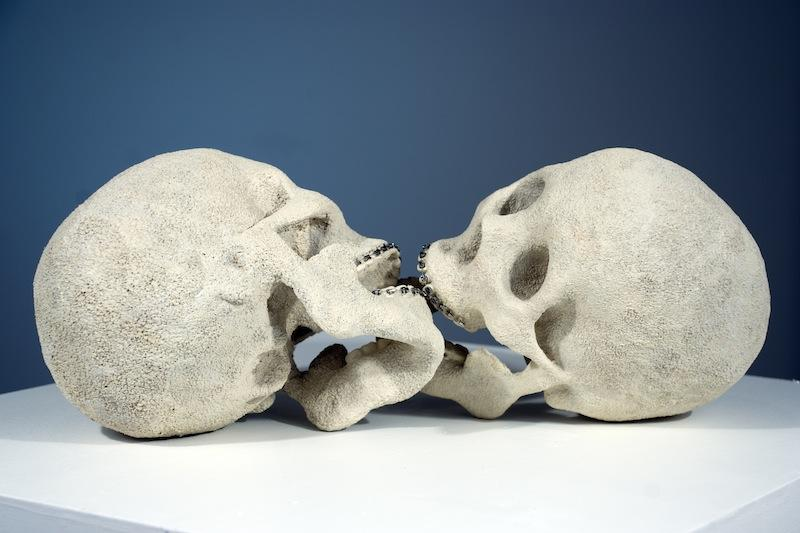 Sex and Death: 'Stuck,' by Deniz Ozuygur -- part of a tongue-in-cheek group show at Benrimon Contemporary that examines the things our society worships.
