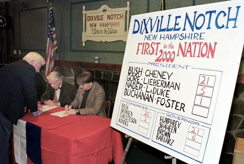 Thomas Tillotson, Neil Tillotson, and Stephen Barba count the results of ballots after voters in Dixville Notch, New Hampshire cast the first ballots in the 2000 US presidential election.