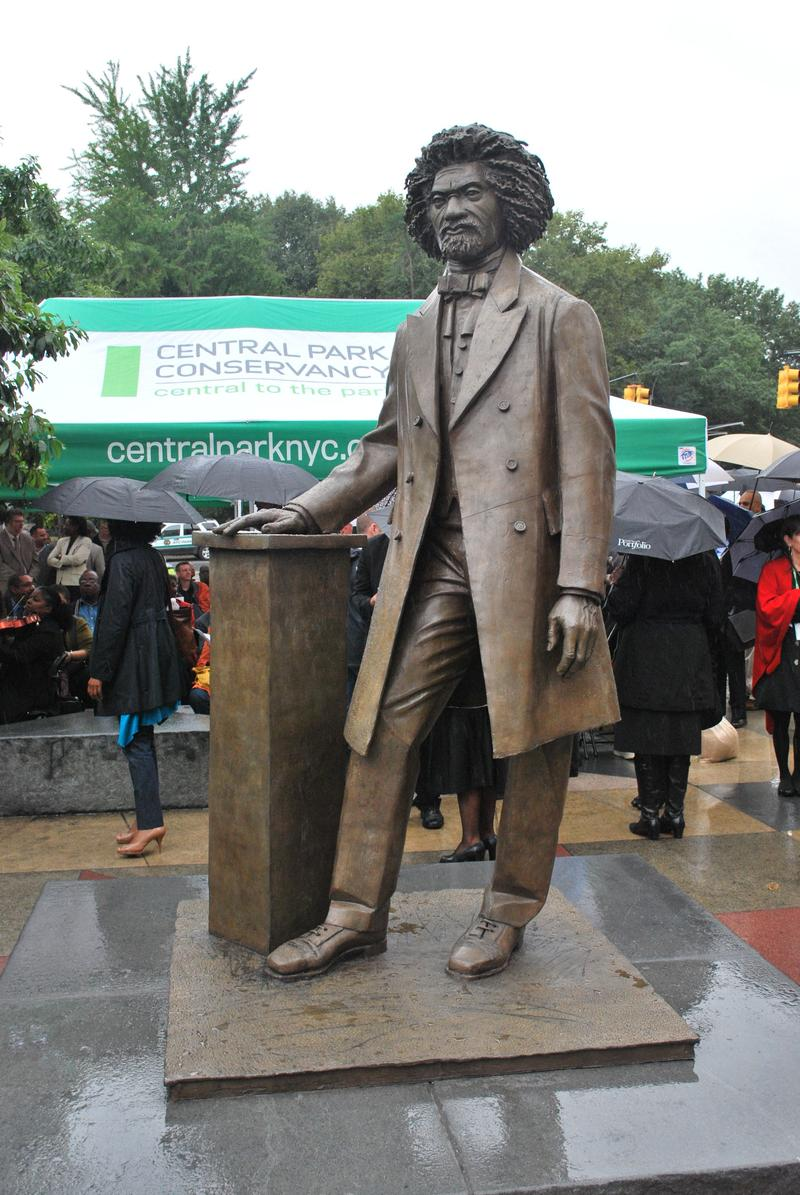 This statue of abolitionist, statesman, and orator Frederick Douglass was dedicated September 20, 2011 in Harlem.