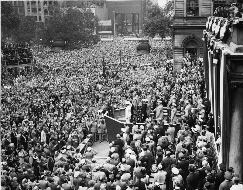 General Eisenhower addresses the crowd at City Hall, June 19, 1945.