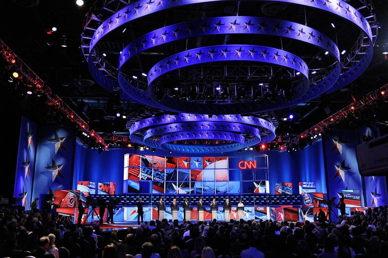 Republican presidential candidates on stage during a debate in Las Vegas, NV, on October 18th, 2011.