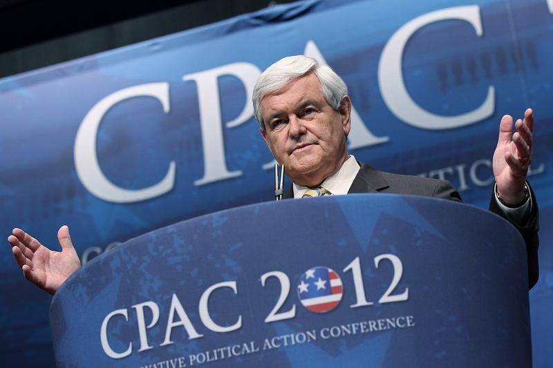 Newt Gingrich addresses the 2012 Conservative Political Action Conference in Washington, DC.