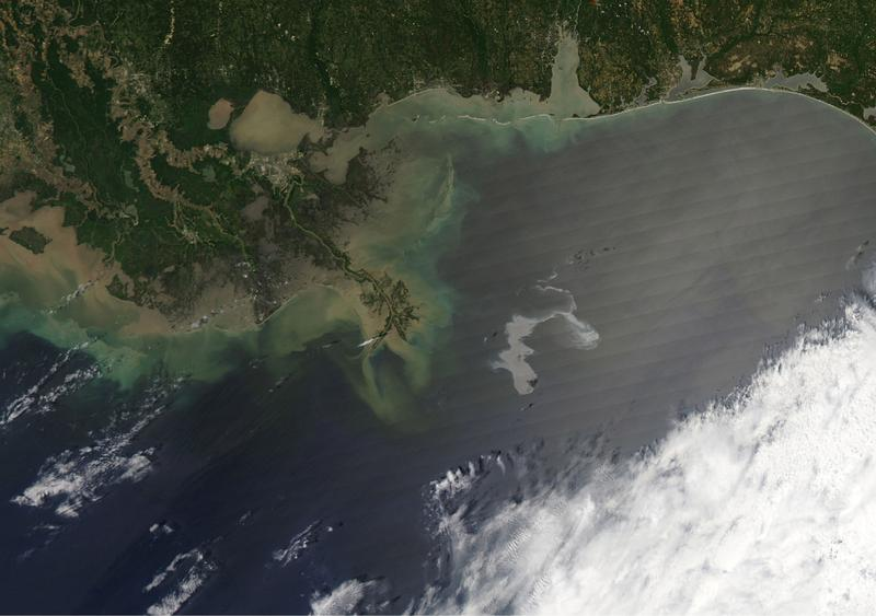 An oil slick from the sunk Deepwater Horizon drilling platform is seen off the coast of Louisiana in the Gulf of Mexico.