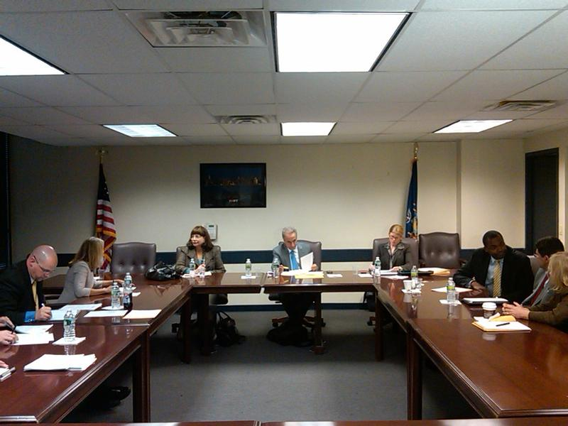 Education Commissioner David Steiner (center) surrounded by staffers and members of the advisory panel considering whether Cathie Black should be NYC schools chancellor.
