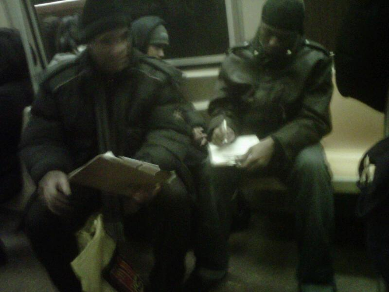 Riders on the A Train Signing Wal-Mart Petition