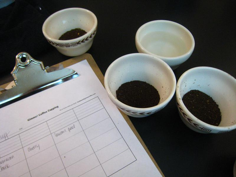 A Coffee Cupping: first, rate aroma.