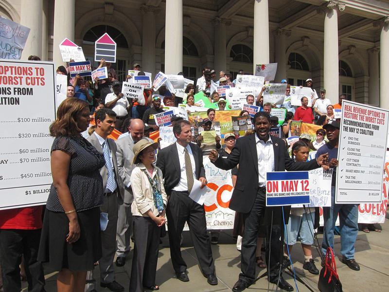 Council members and advocates rally against Mayor Bloomberg's budget cuts