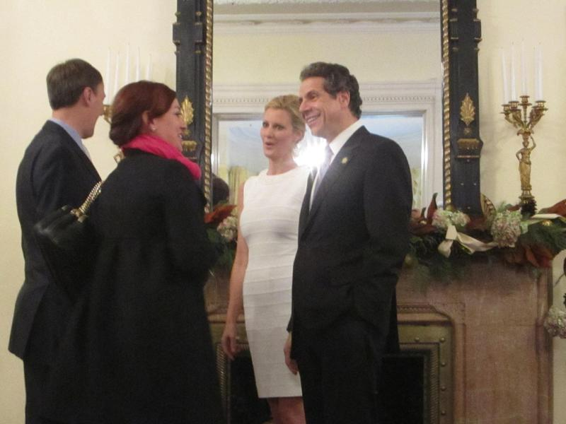 Governor Cuomo, along with girlfriend, Sandra Lee, greeted nearly 300 members of the public at a New Year's Day open house at the executive mansion in Albany.