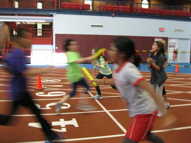 Relay racing is one of three activities 5th graders at PS107 participate in during gym class