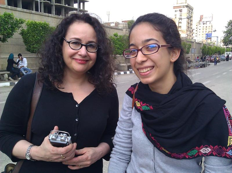 Brooke with Hanan, a 20-year-old Cairo University student.