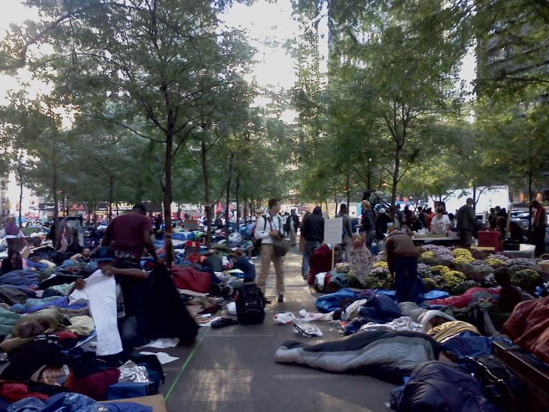 Hundreds sleep in Zuccotti Park, the center of the Occupy Wall Street protests, on October 10, 2011.