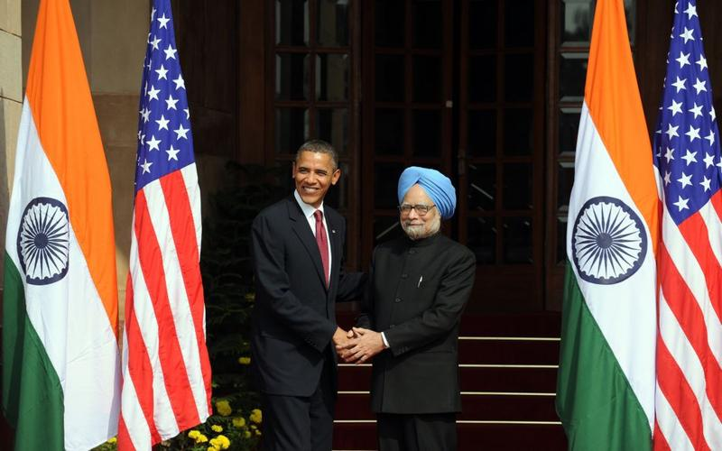President Barack Obama shakes hands with Indian Prime Minister Manmohan Singh at the Hyderabad House prior to delegation level talks and a joint press conference in New Delhi on November 8, 2010.