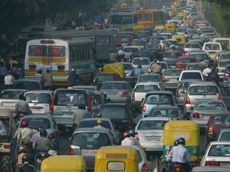 Traffic jam in Delhi, India