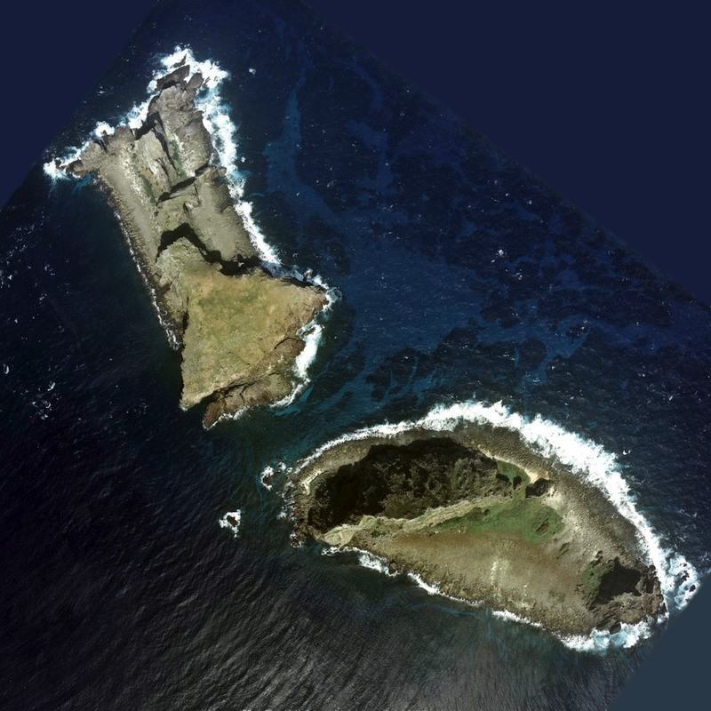 Aerial photo of two of the islands whose ownership is disputed by China and Japan, called Kitakojima and Minamikojima by the Japanese.