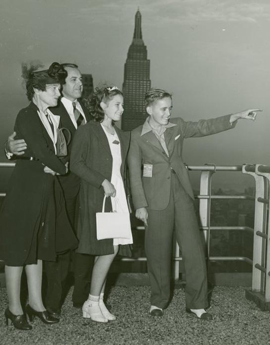 Typical American Family - Burdin family on roof of New Yorker Hotel, ca. 1940
