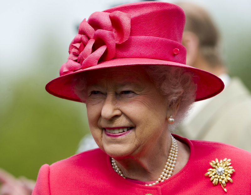 Queen Elizabeth II on tour in Chester, England celebrating her Diamond Jubilee