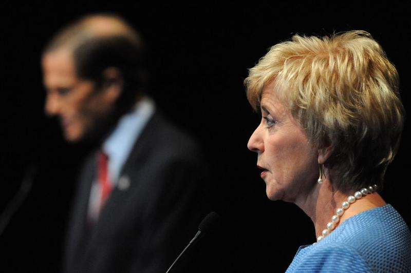 U.S. Senate candidates, Democrat Richard Blumenthal (L) and Republican Linda McMahon (R) debate on the stage at the Garde Arts Center on October 12, 2010 in New London, Connecticut.