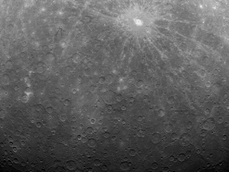 At 5:20 am EDT on Mar. 29, 2011, MESSENGER captured this historic image of Mercury. This image is the first ever obtained from a spacecraft in orbit about the Solar System's innermost planet.