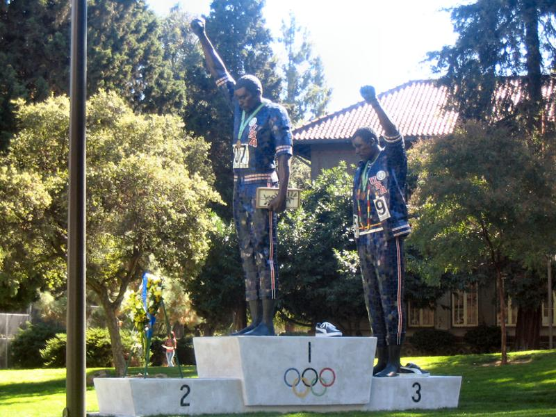 "A monument at San Jose State University to John Carlos and Tommie Smith's ""Black Power"" salute at the 1968 Olympic Games."