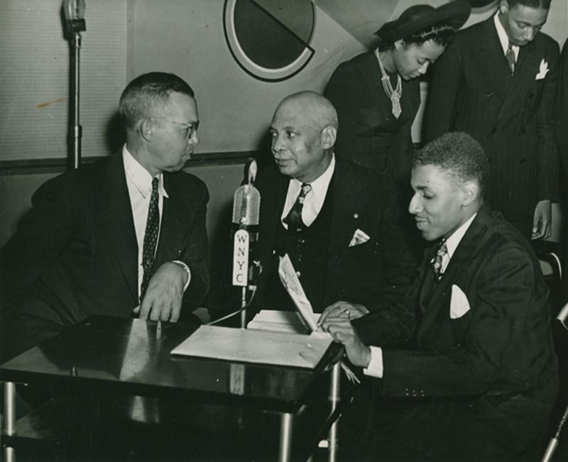 WNYC producer Clifford Burdette in Studio C with James H. Hubert, New York Secretary of the Urban League, and composer W.C. Handy (left) in 1941.