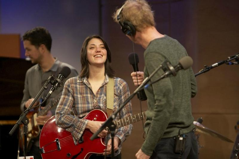 Sharon Van Etten talks with John Schaefer during her appearance in The Greene Space