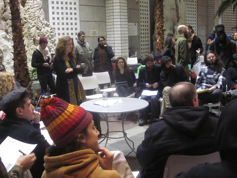 Protesters meeting in the atrium of 60 Wall Street, a regular gathering space for the movement.