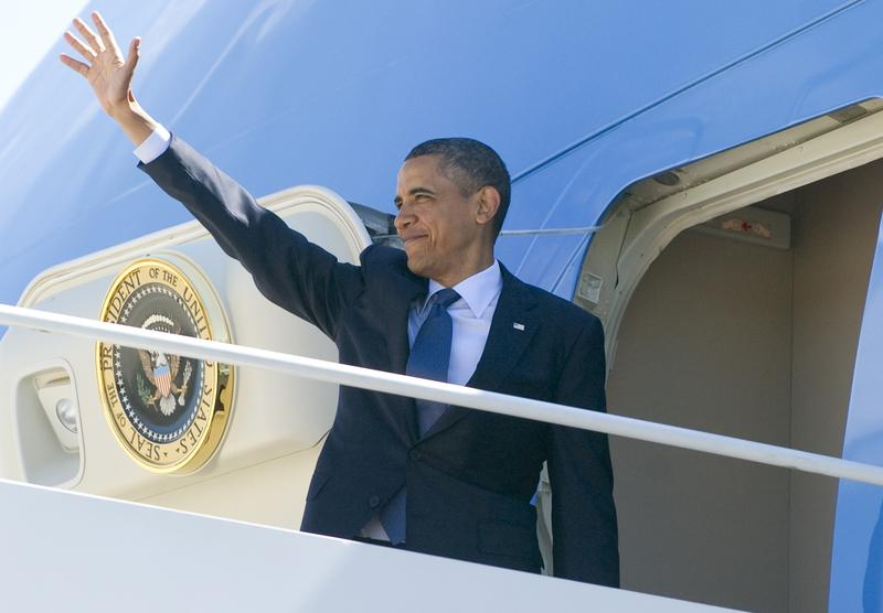 President Obama boards Air Force One on a speaking and fundraising tour that includes a stop in Puerto Rico.
