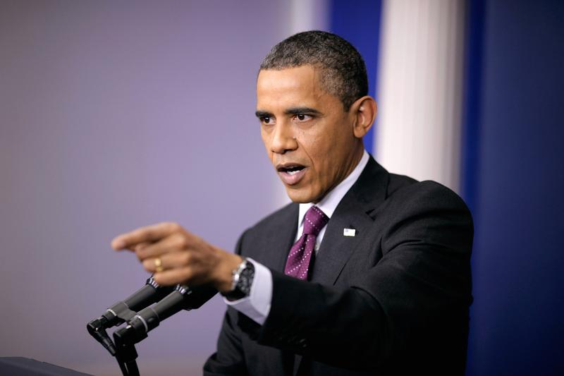 President Barack Obama speaks during a news conference in the Brady Press Briefing Room of the White House.