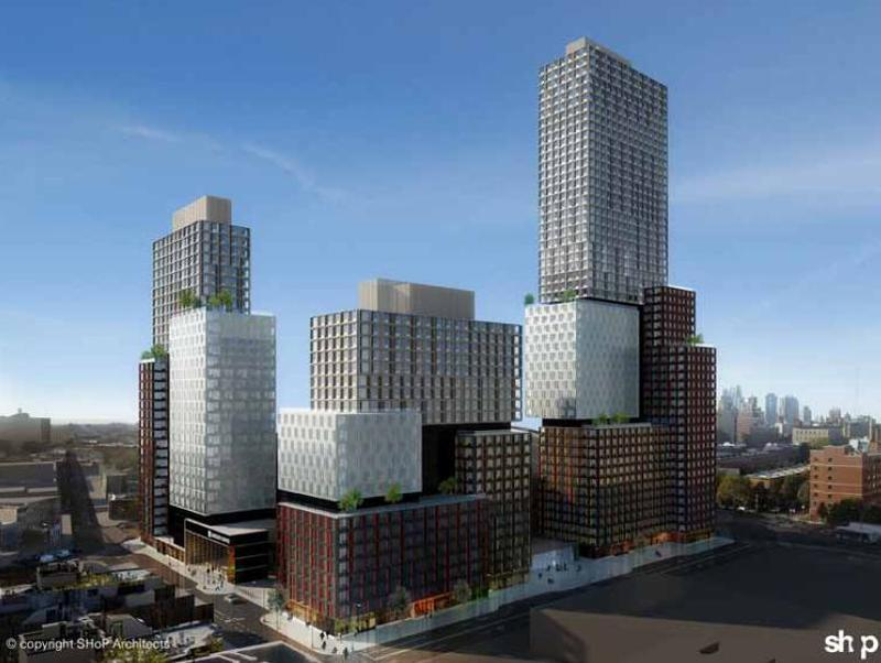 A rendering of Atlantic Yards from Dean Street and Sixth Avenue.