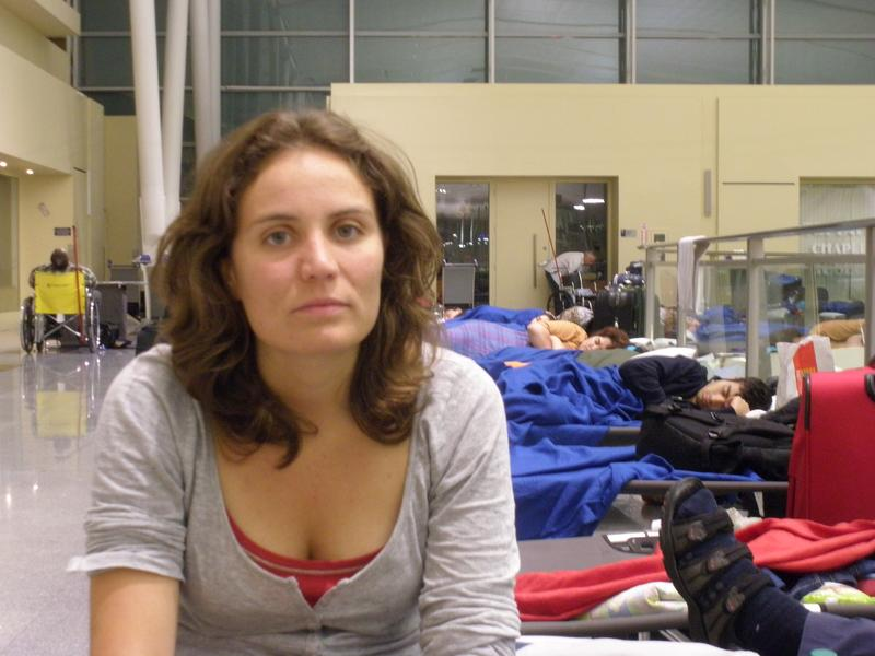 Montse Anton, from Spain, was stranded at JFK airport all weekend.