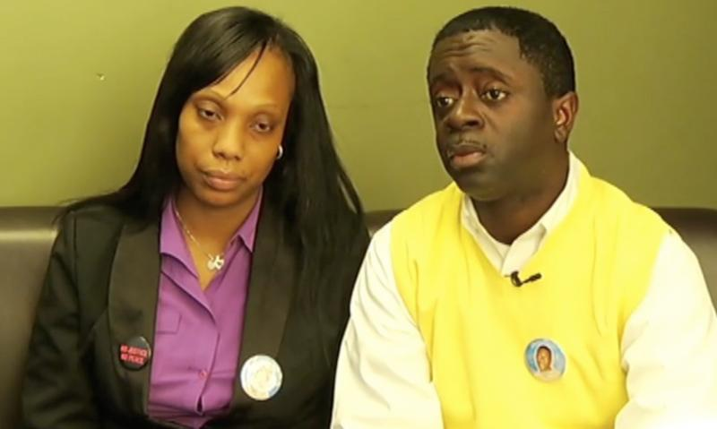 Video still showing the parents of Ramarley Graham