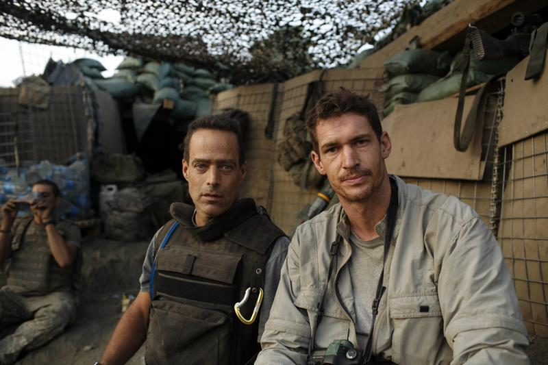 RESTREPO filmmakers Sebastian Junger (l.) and Tim Hetherington (r.) at Outpost Restrepo. Korengal Valley, Afghanistan, Kunar Province. 2007.
