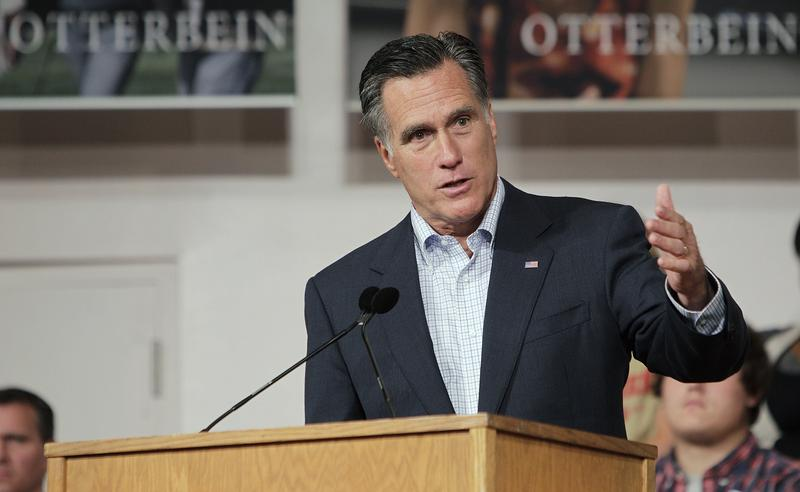 Republican presidential candidate and former Massachusetts Gov. Mitt Romney speaks during a campaign event at Otterbein University April 27, 2012 in Westerville, Ohio.