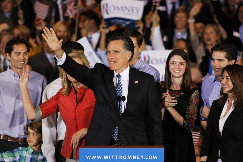 Republican presidential candidate, former Massachusetts Gov. Mitt Romney waves to supporters during his Florida primary night party.
