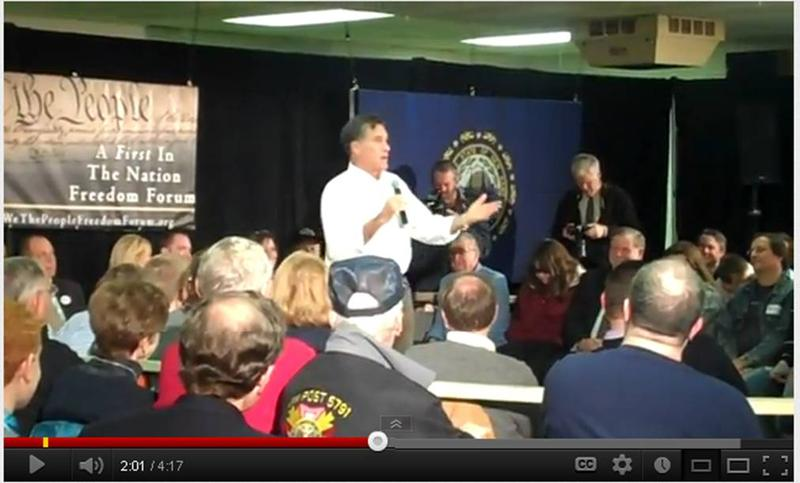 Mitt Romney at a December 2011 town hall in New Hampshire describing his experience as a missionary in France