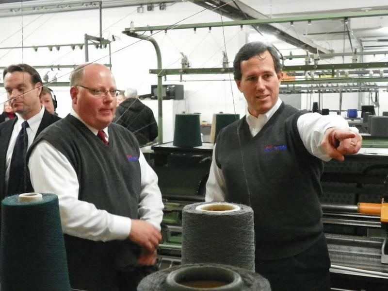 Rick Santorum tours Bemidji Woolen Mills, a company contracted to produce custom sweater vests as campaign promotional items.