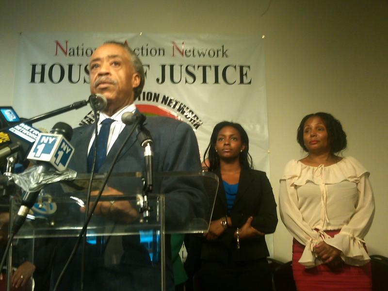 Rev. Al Sharpton, with Nicole Paultre-Bell and her mother Laura Harper Paultre